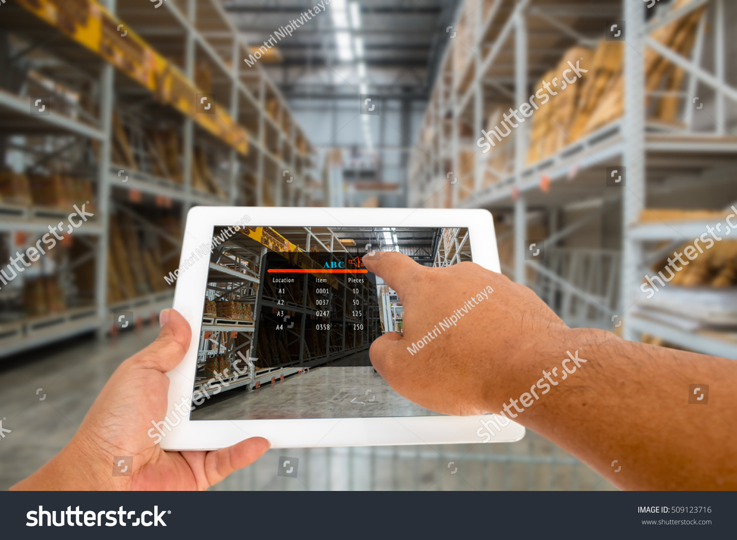 Augmented Reality Warehouse Logistic Concept Hand Stock Photo (Edit