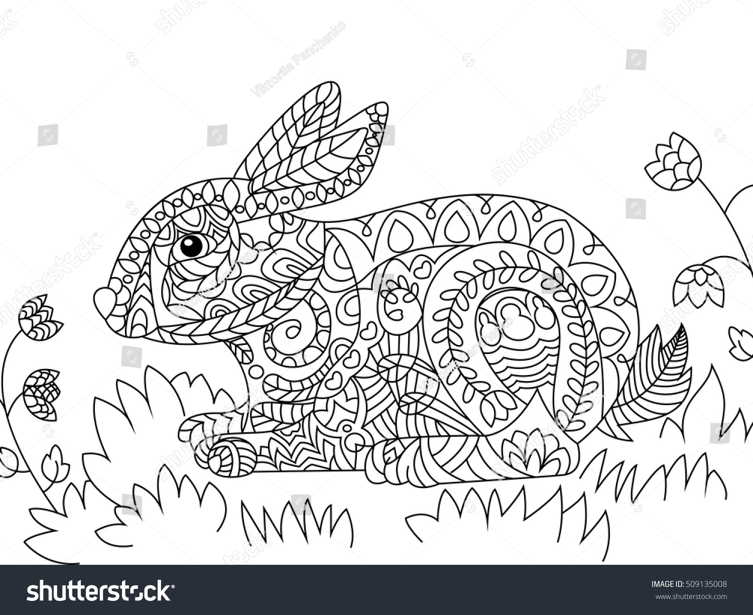 Vector Illustration Of The Rabbit In Zentangle And Ethcnic Style Bunny Tattoo Coloring Page
