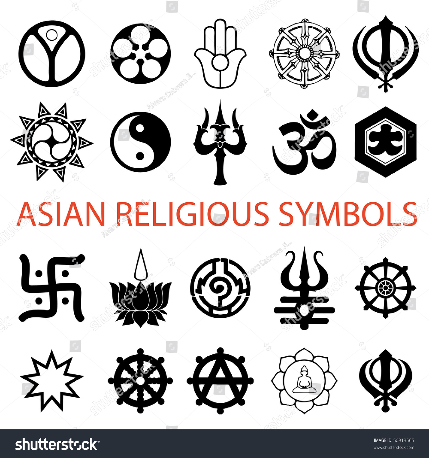 Vector Various Religious Symbols Asian Stock Vector 50913565