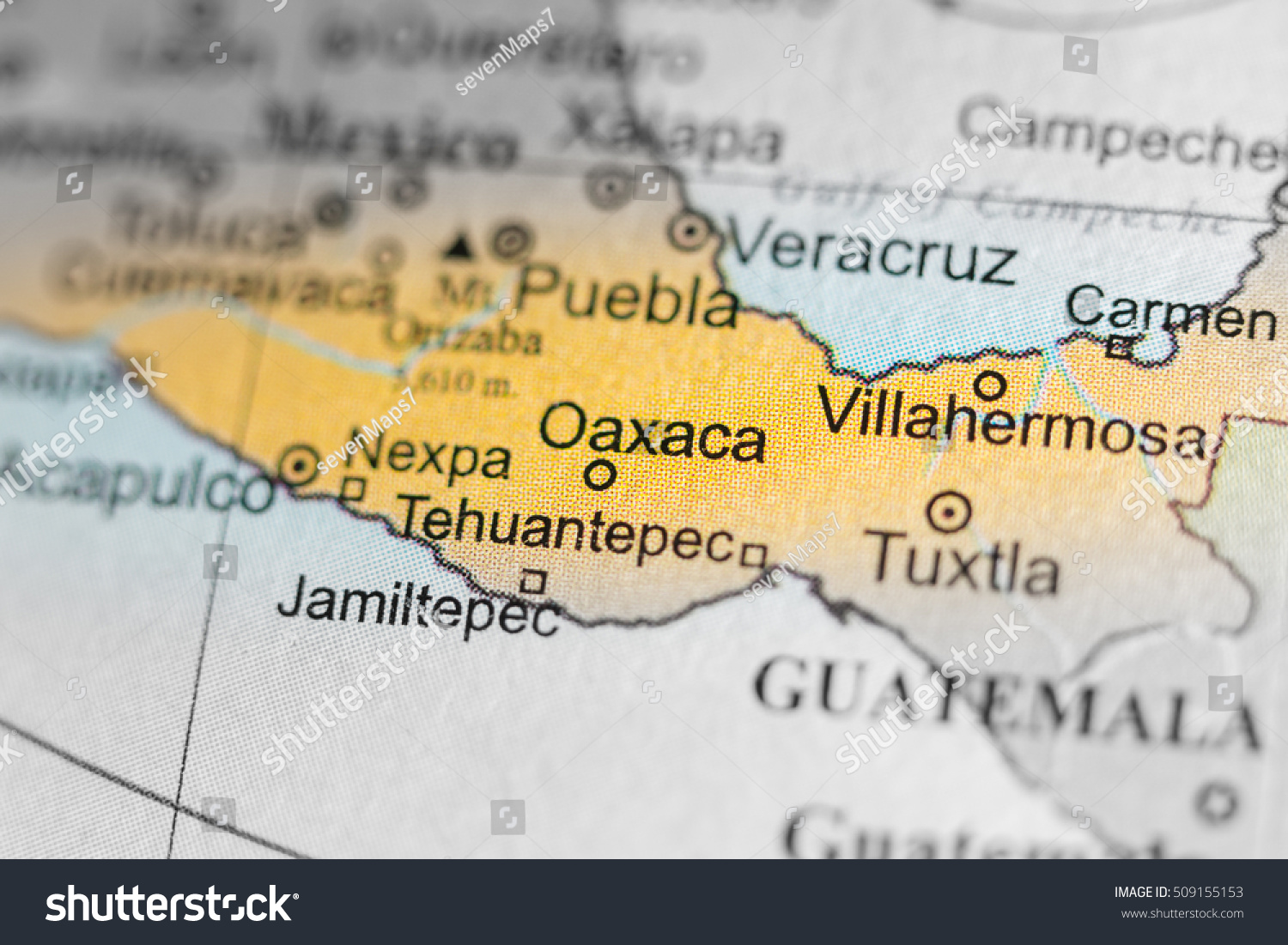 map view of oaxaca mexico on a geographical map of central amer