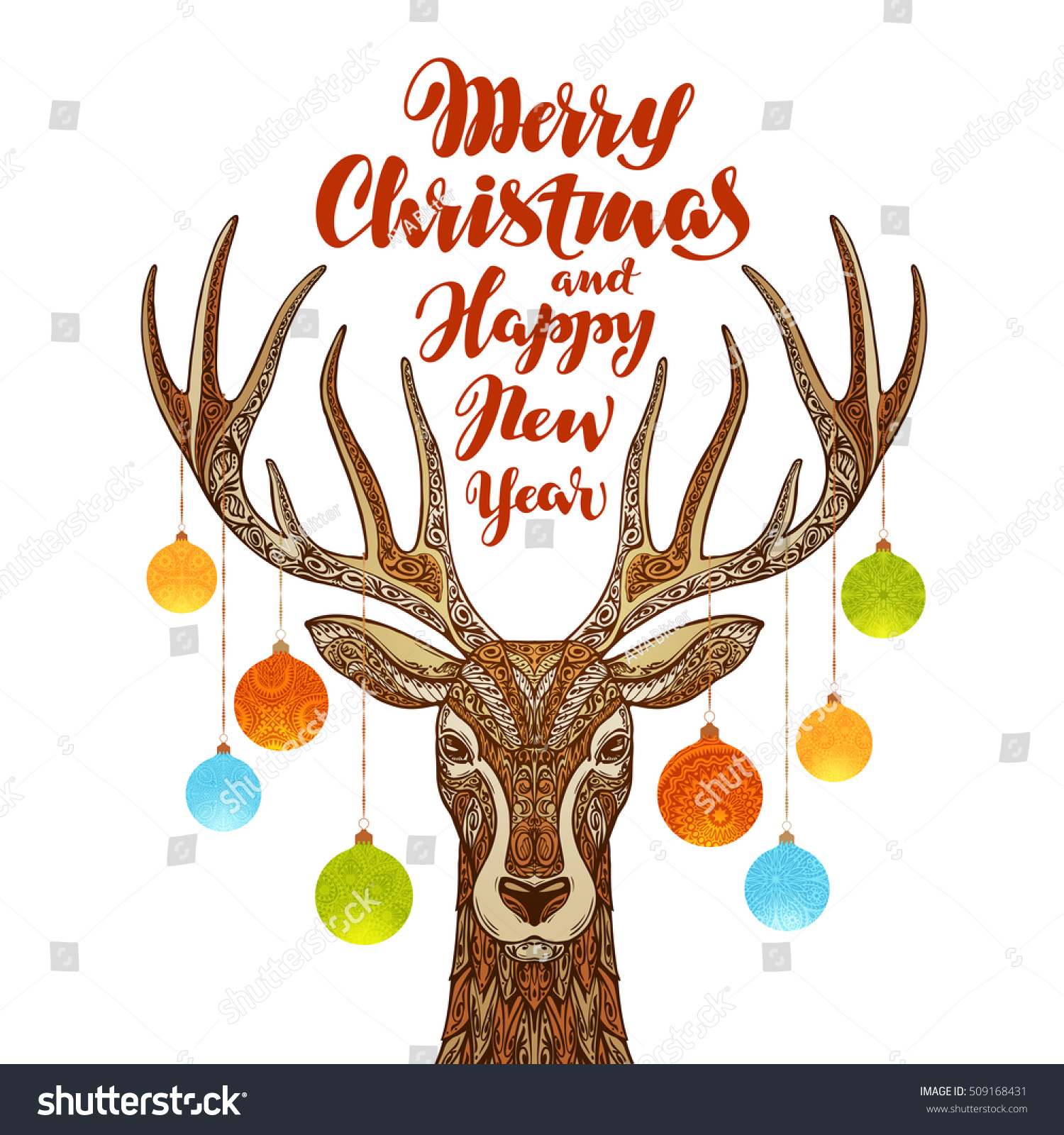 merry christmas happy new year reindeer stock vector royalty free