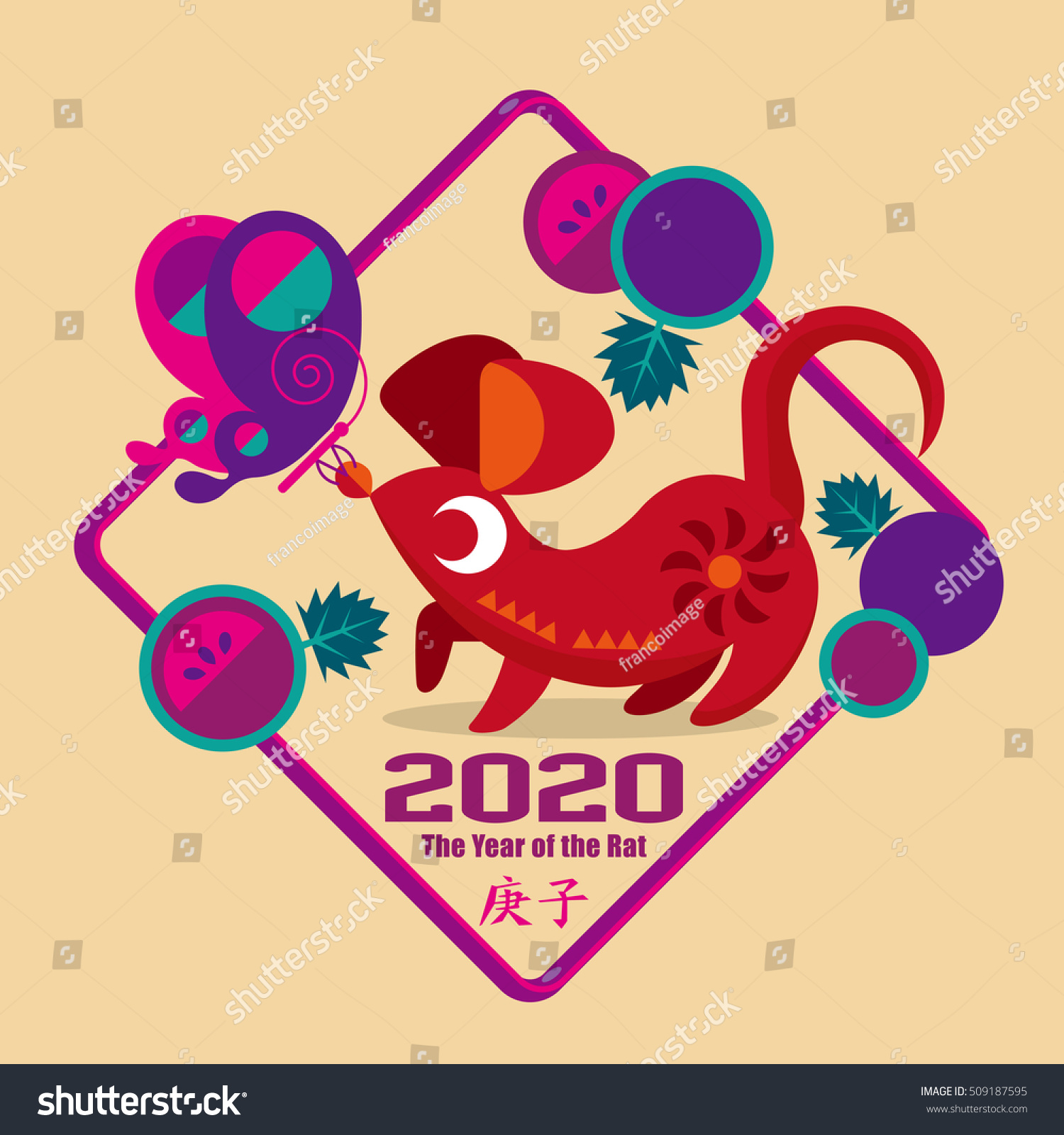 Graphic Icon Chinese Year Rat 2020 Stock Vector 509187595 Shutterstock