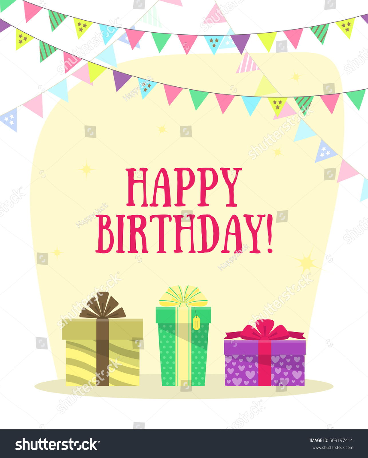 Greeting Card Happy Birthday Gift Boxes Stock Vector