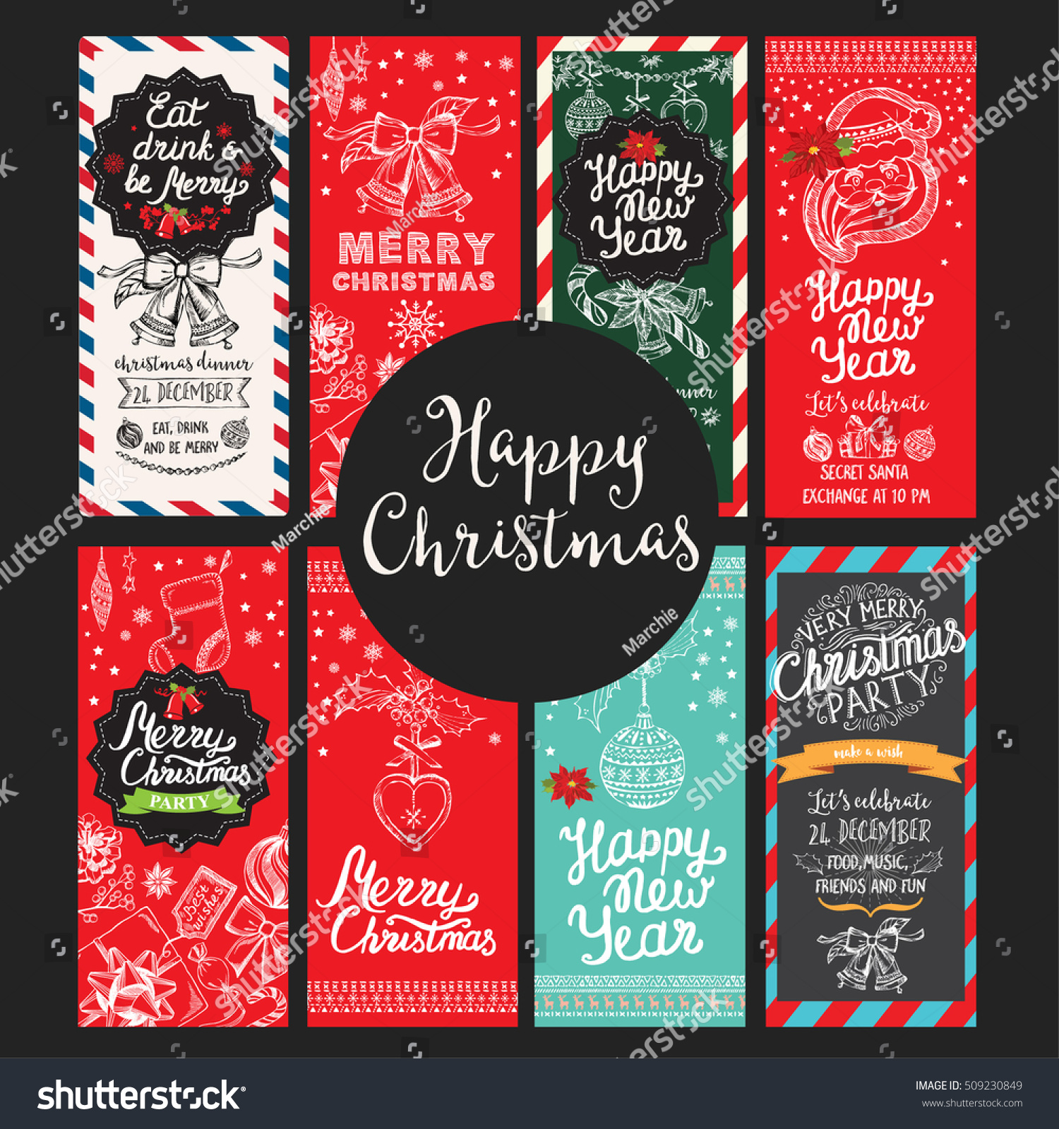 Christmas Restaurant Brochure, Menu Template. Vector Holiday Background And  Design Banner. Happy New
