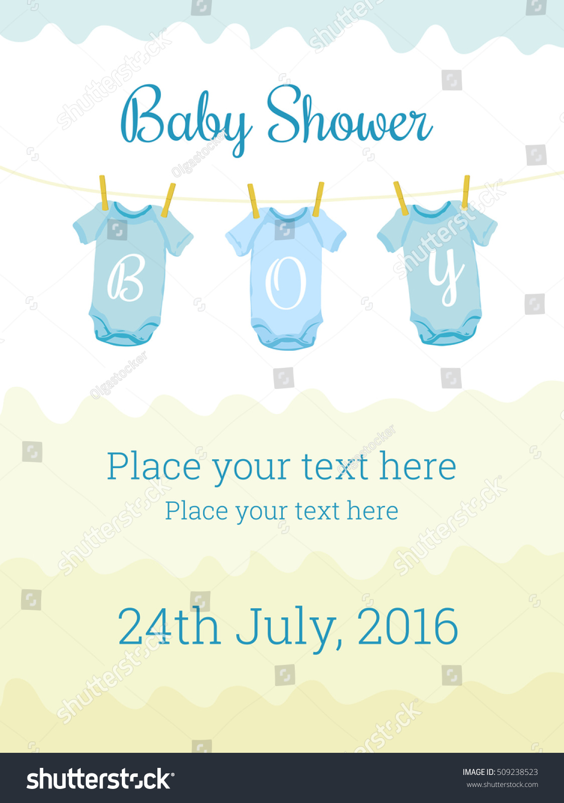 Baby Shower Invitation Card Template Baby Stock Illustration