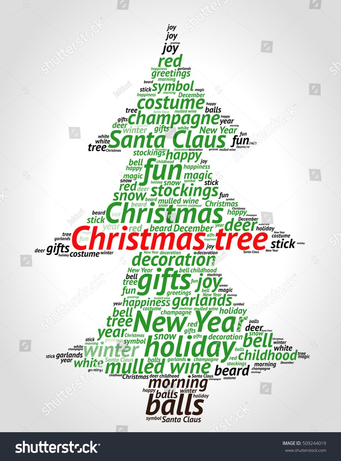 Christmas Tree Word Cloud Concept Shape Stock Vector HD (Royalty ...