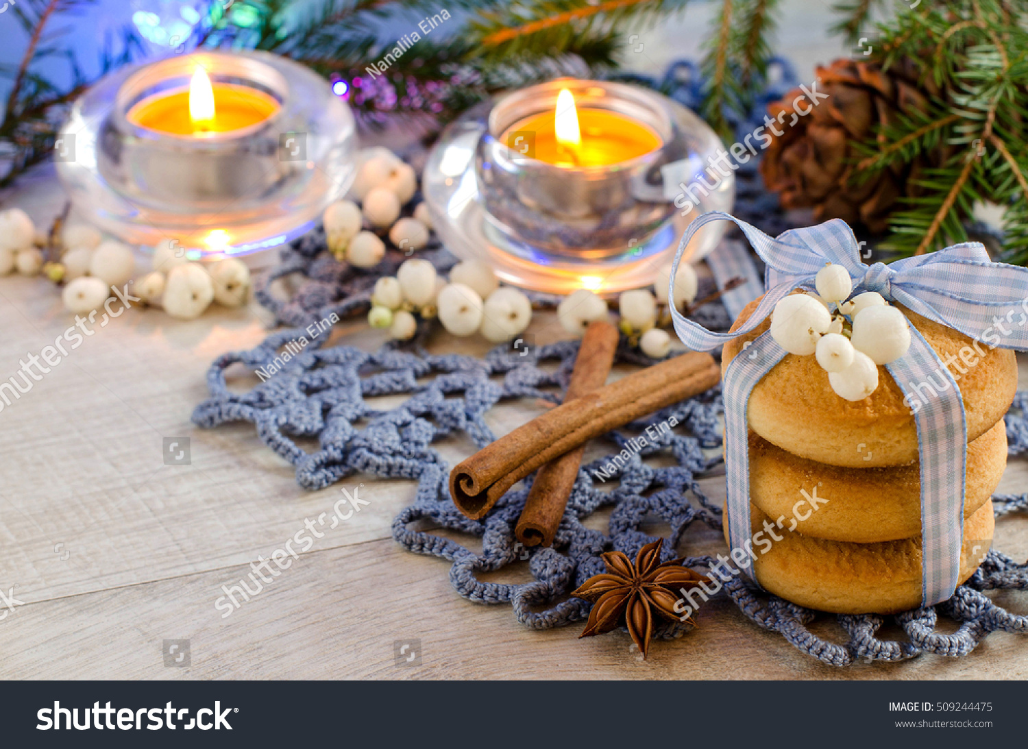 Christmas Cookies Christmas Decorations Candles Blue Stock Photo