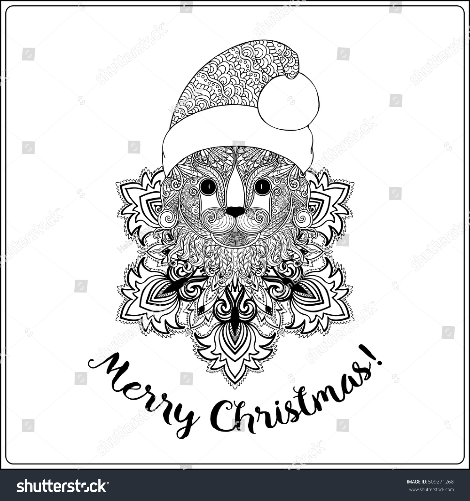 Decorative Cat Santa Claus Hat On Stock Vector HD (Royalty Free ...