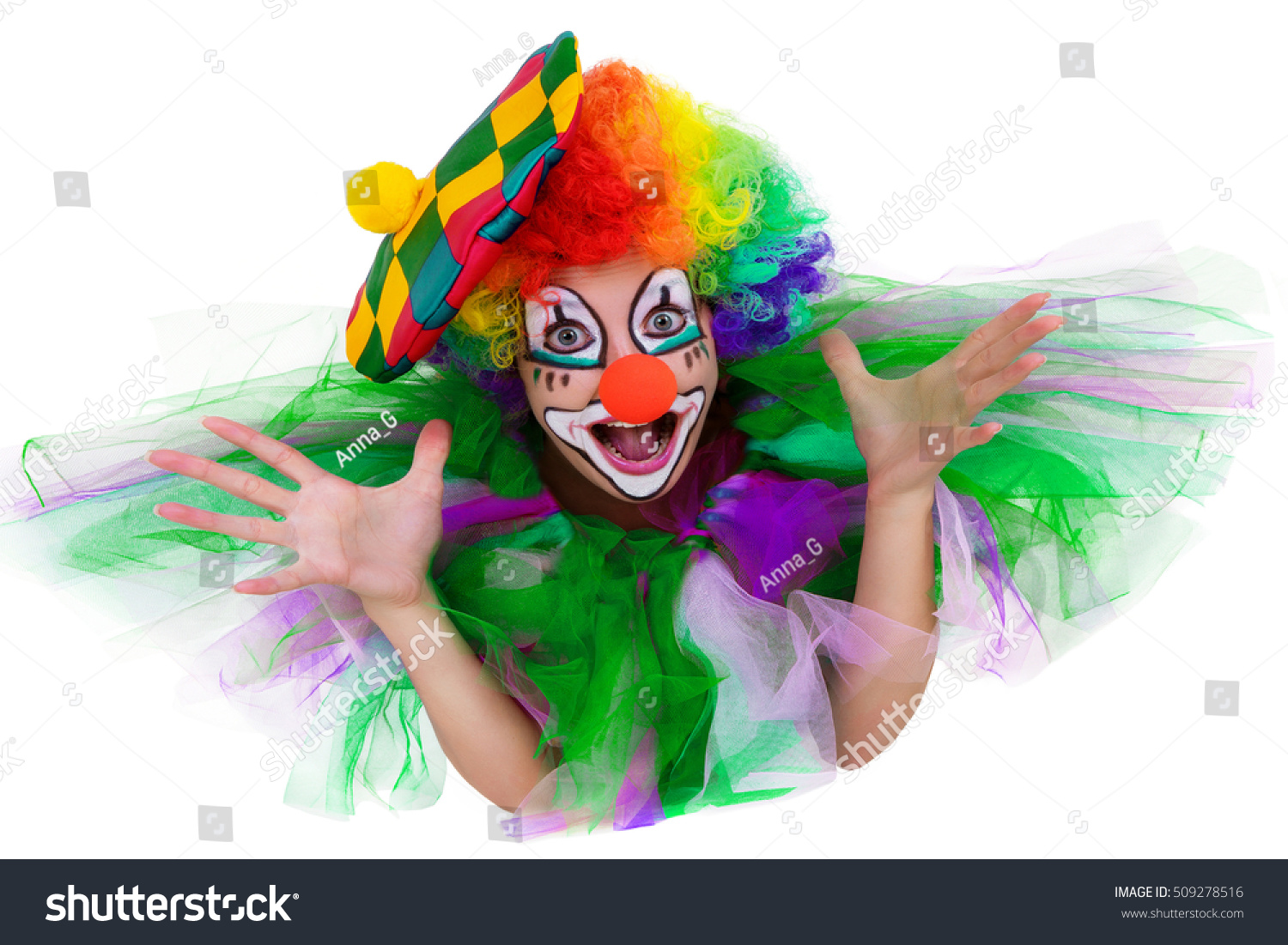 Girl Cap Clown Costume Bouquet Flowers Stock Photo (100% Legal ...