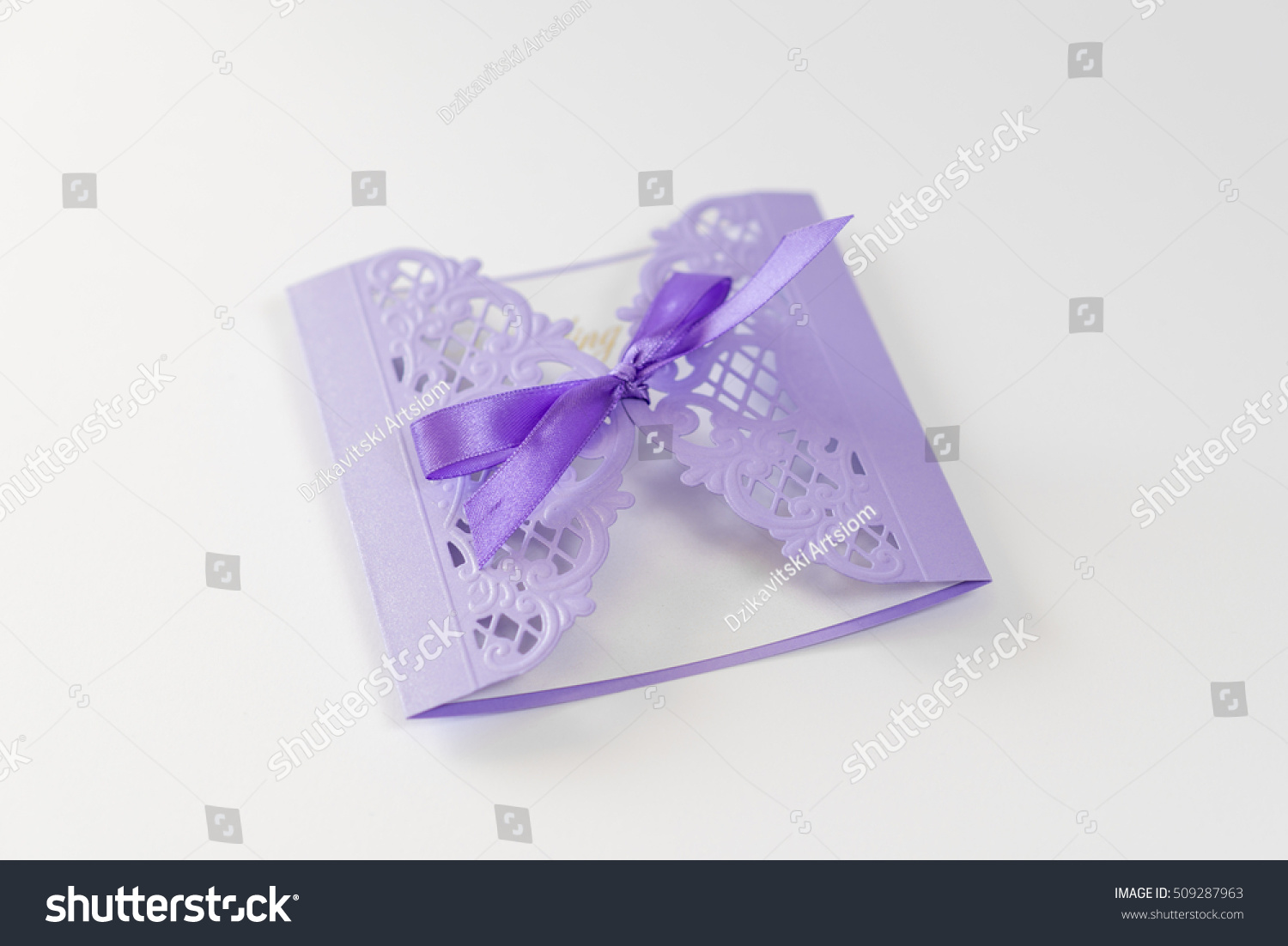 Wedding Invitations With Purple Ribbon: Wedding Invitation Cutting Decorated Purple Ribbon Stock