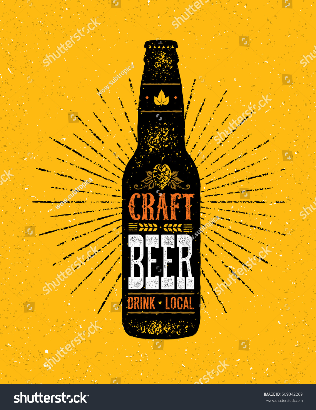 Local Craft Beer Creative Handmade Typography Stock Vector Royalty
