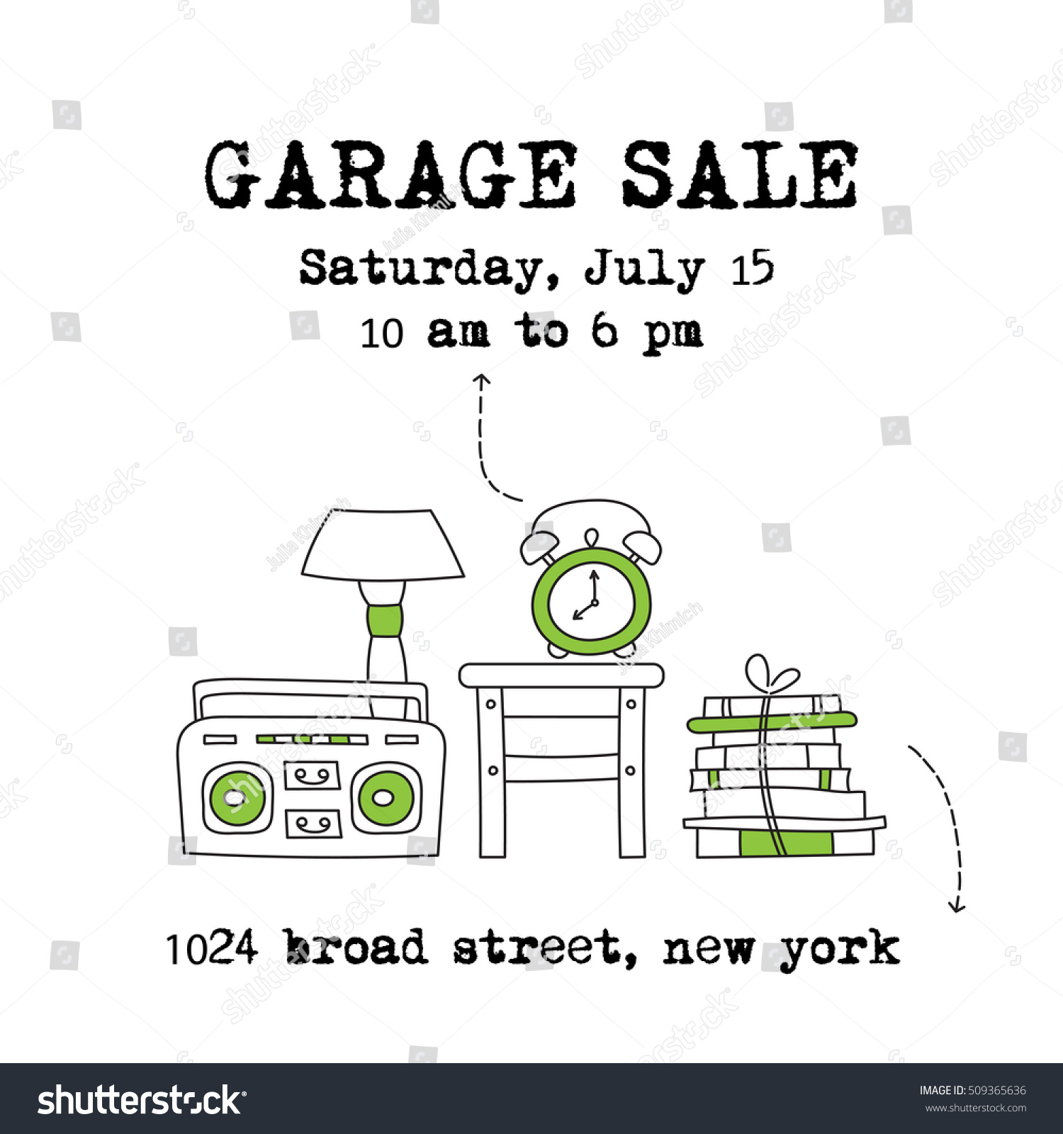 Garage Sale Household Used Goods Vector Stock-Vektorgrafik 509365636 ...