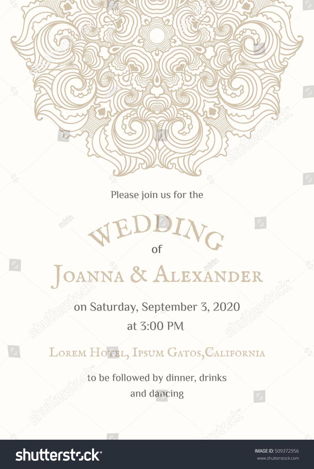 graphic invite sample mandala invitation announcement stock vector