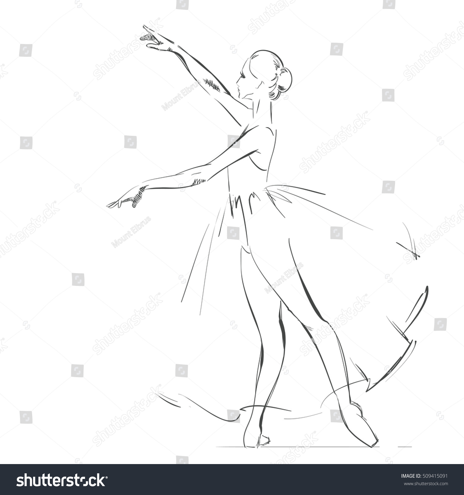 free hand drawing young ballerina vector stock vector 509415091