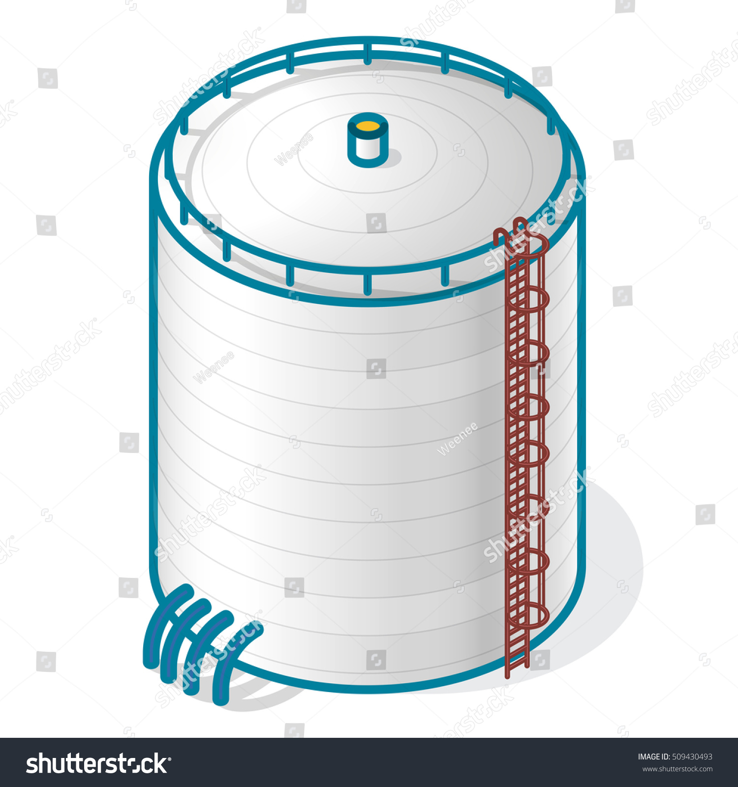 Tank Storing Water Gas Oil Oxygen Stock Vector Royalty Free