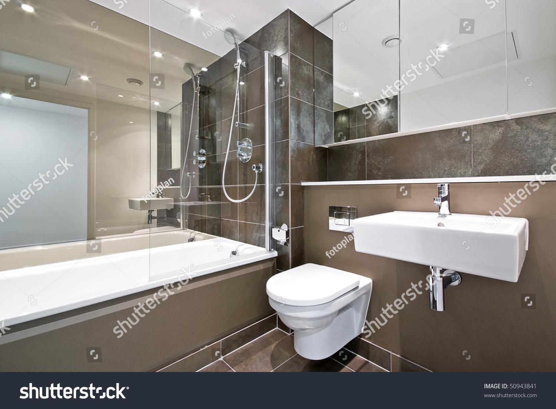 Modern Family Bathroom Large Bath Tub Stock Photo (Edit Now ...