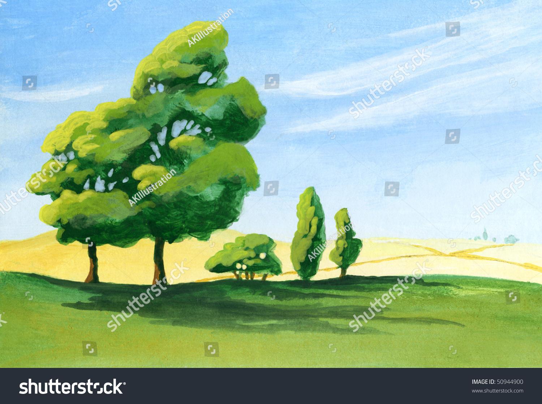 Acrylic Painting Few Trees Casting Long Stock Illustration
