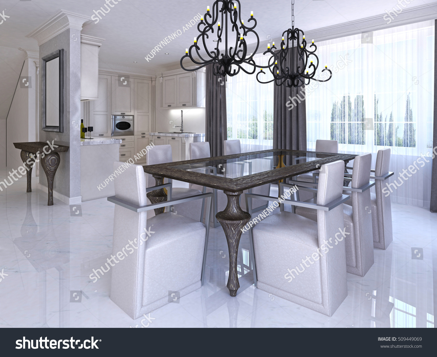 Luxurious Dining Room With Dining Table And Designer Chairs. Wooden Table  And Glass Countertop And
