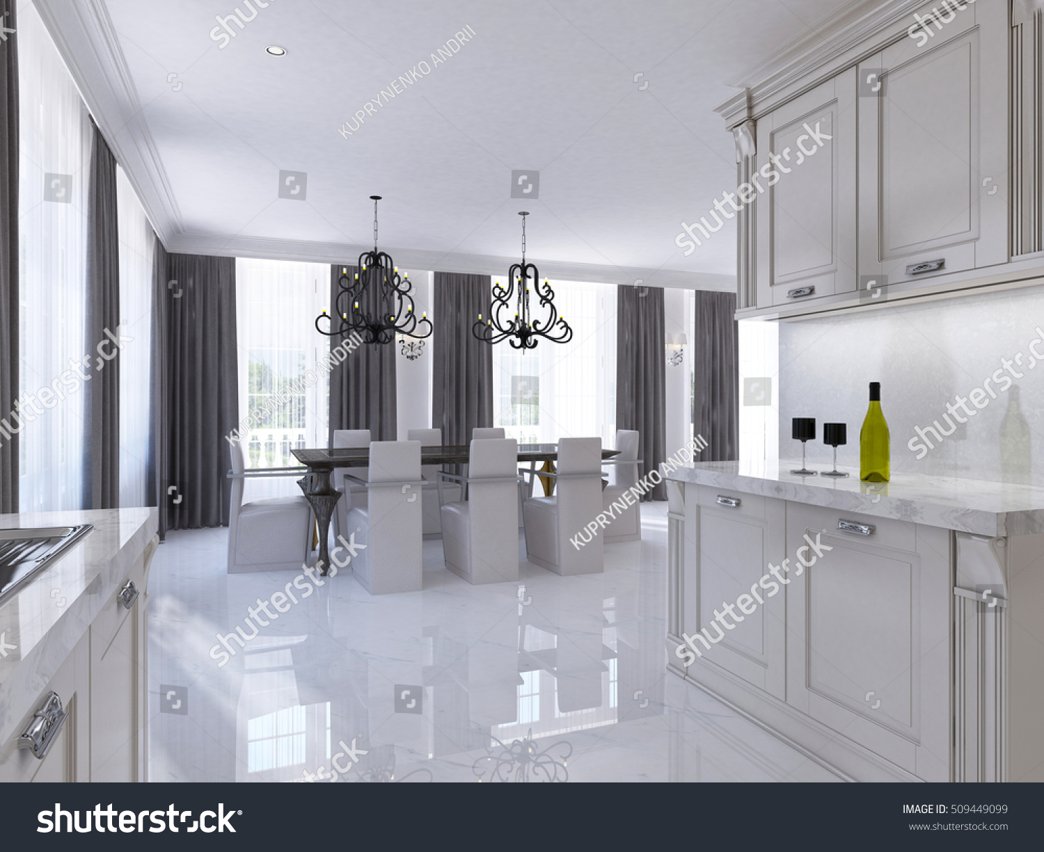 Classic White Kitchen Dining Room In The Style Of Art Deco. Large Dining  Table Part 79