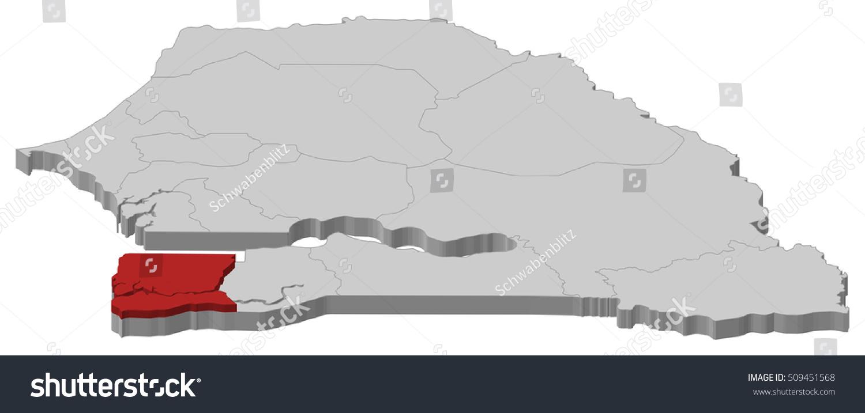 Map Senegal Ziguinchor 3dillustration Stock Vector 509451568