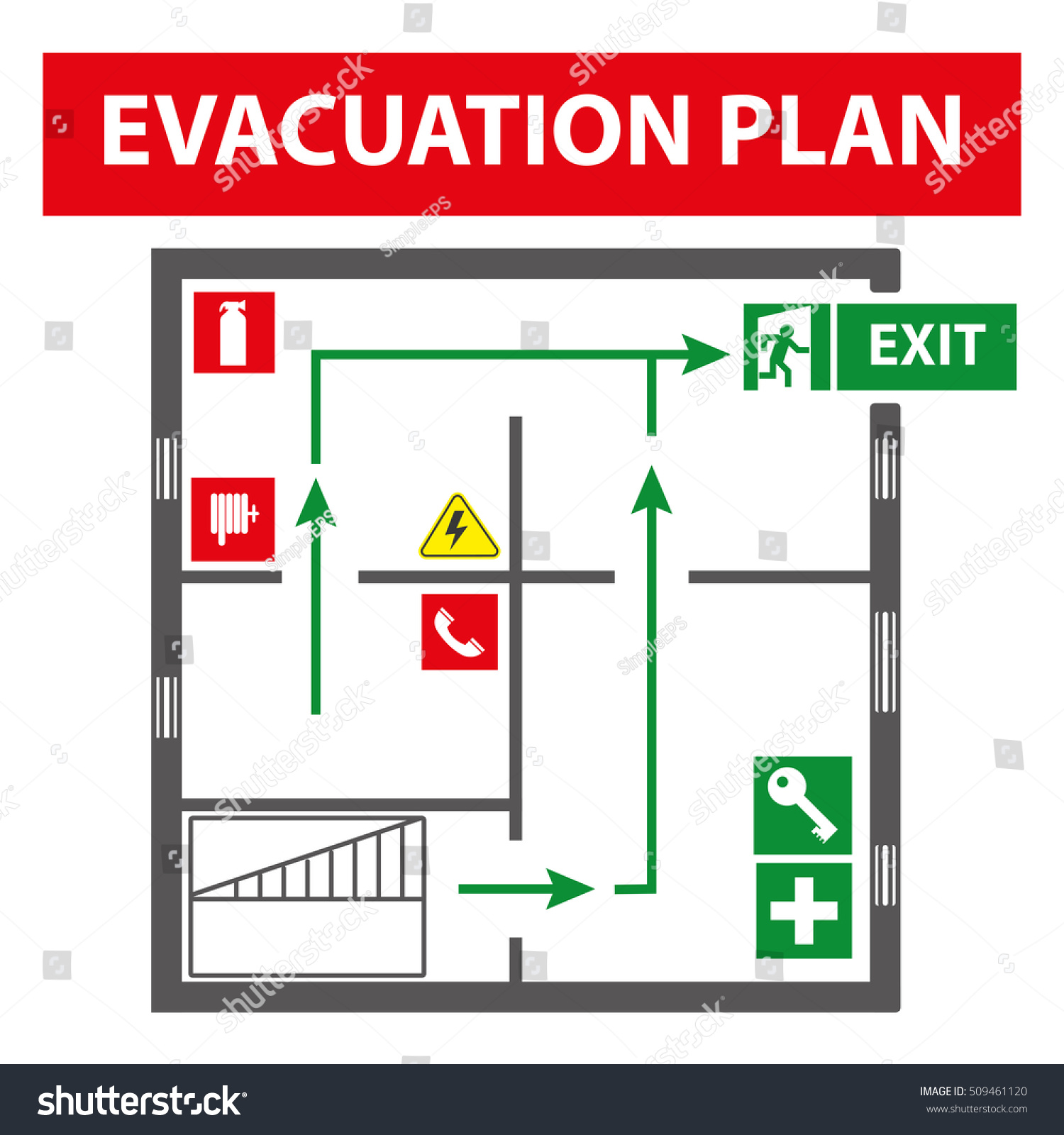 Signs evacuation plan building case fire stock vector 509461120 signs for the evacuation plan of the building in case of fire or a hazardous incident biocorpaavc Gallery