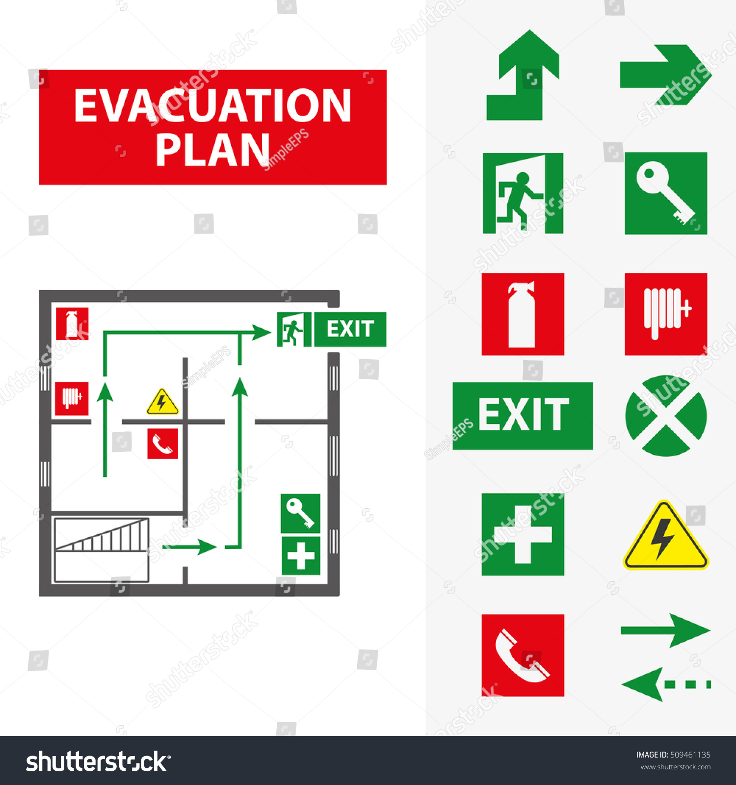 Signs evacuation plan building case fire stock vector 509461135 signs for the evacuation plan of the building in case of fire or a hazardous incident biocorpaavc Gallery