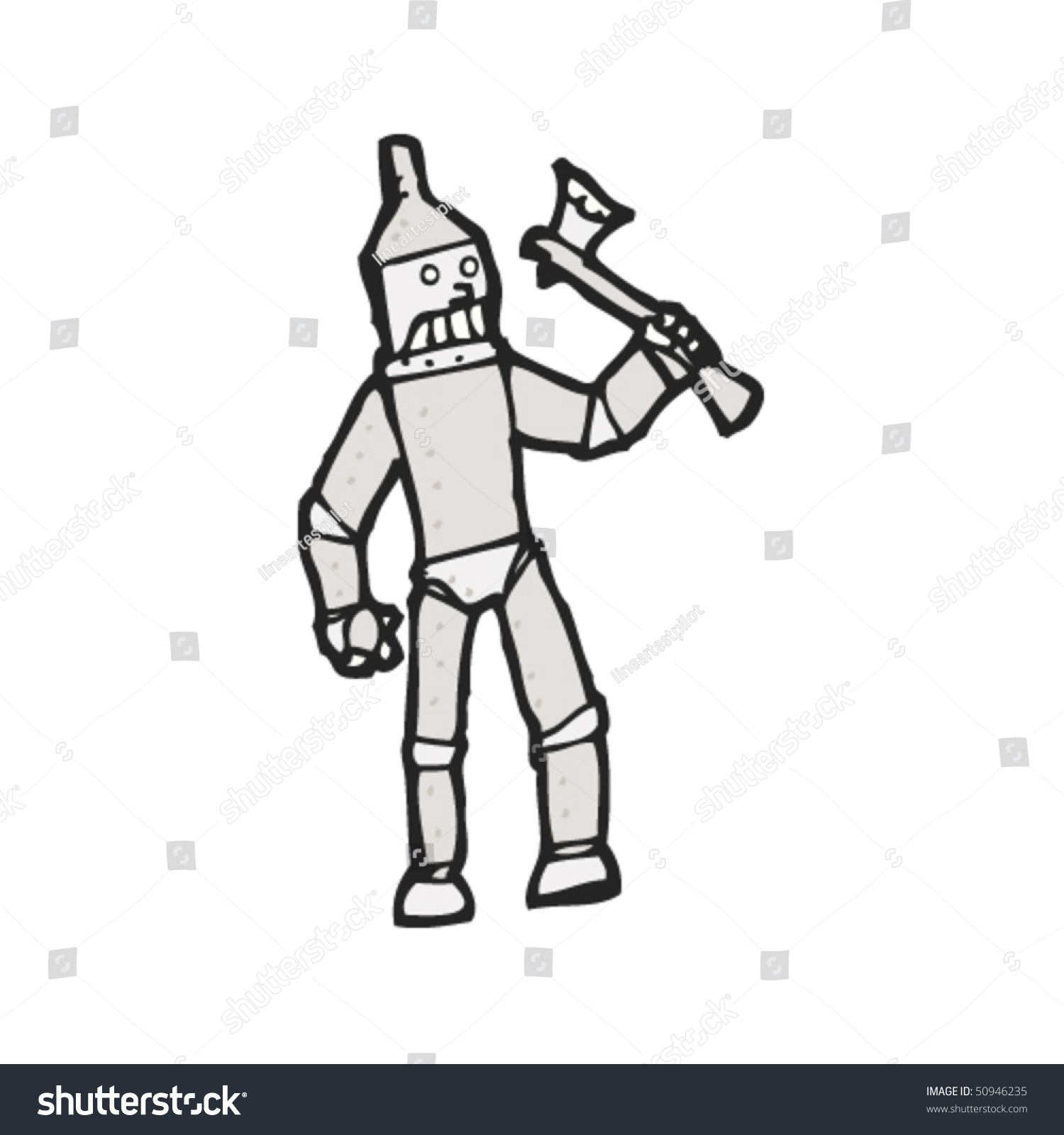 Drawing of a tin man