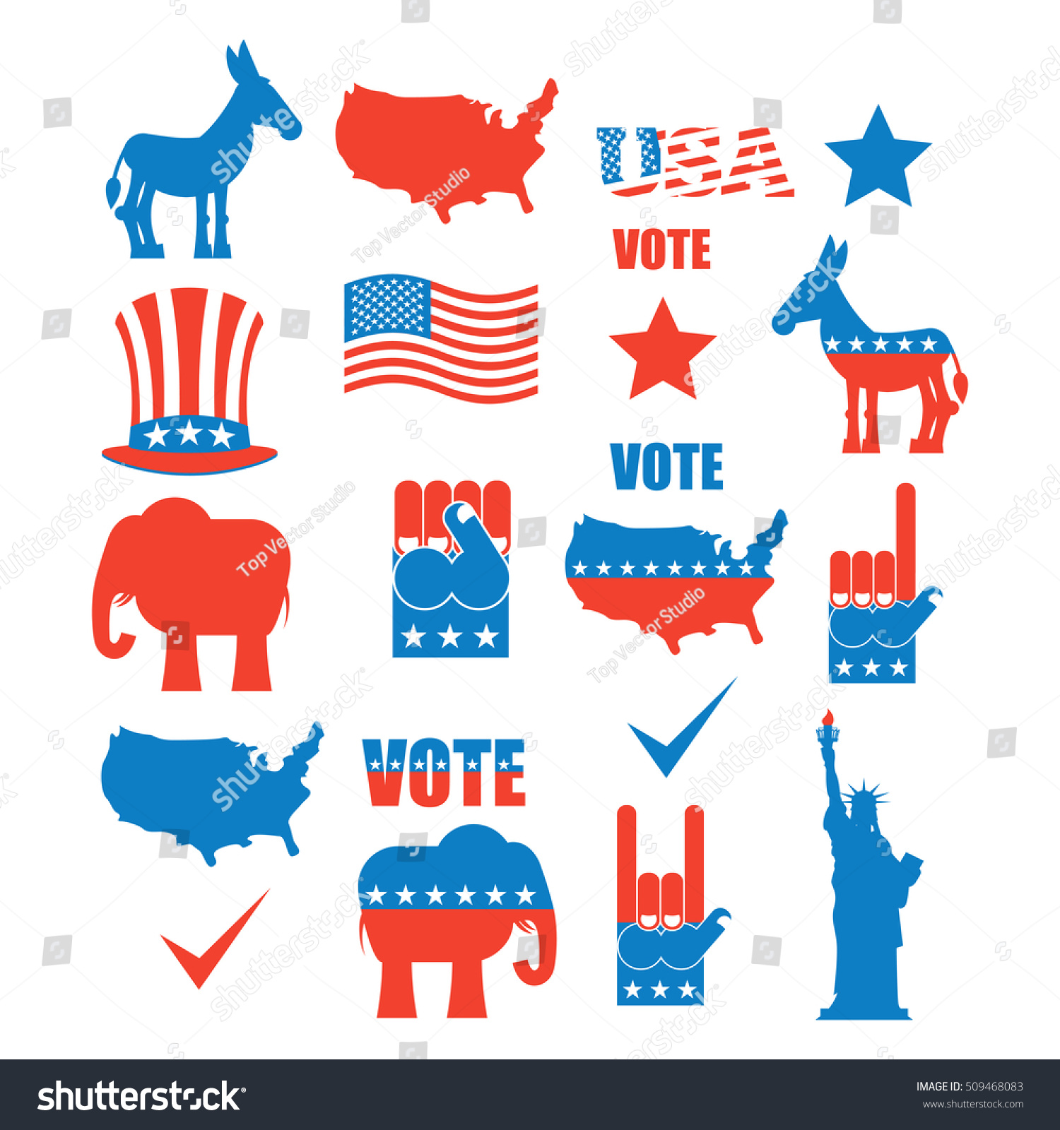 American Elections Icon Set Republican Elephant Stock Vector - Map of usa political party