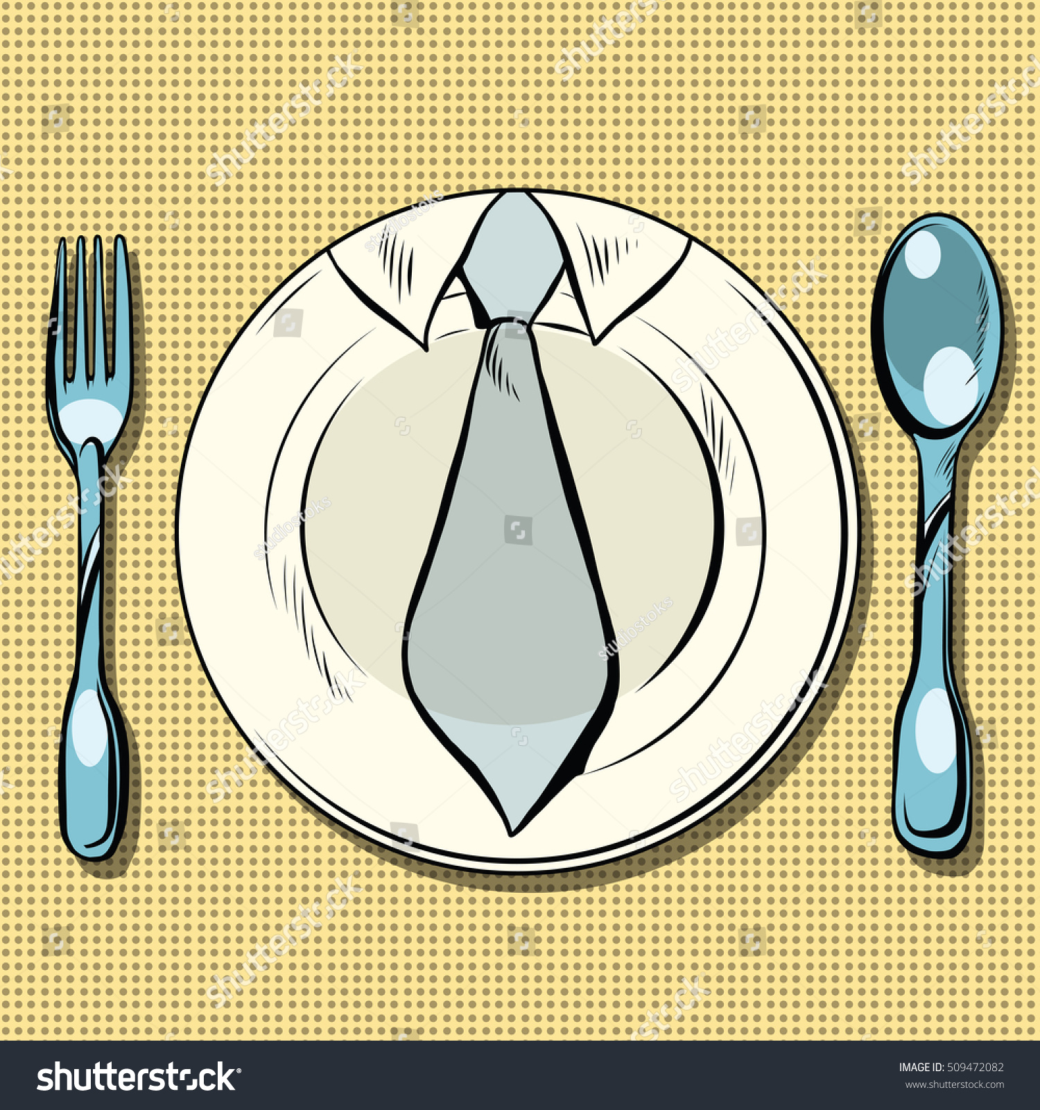 Business Lunch Dish Fork Spoon Pop Stock Vector (Royalty Free ...