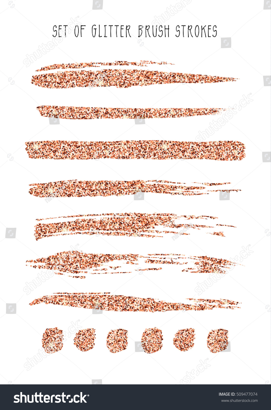 Set Rose Gold Glitter Brush Strokes Stock Vector 509477074