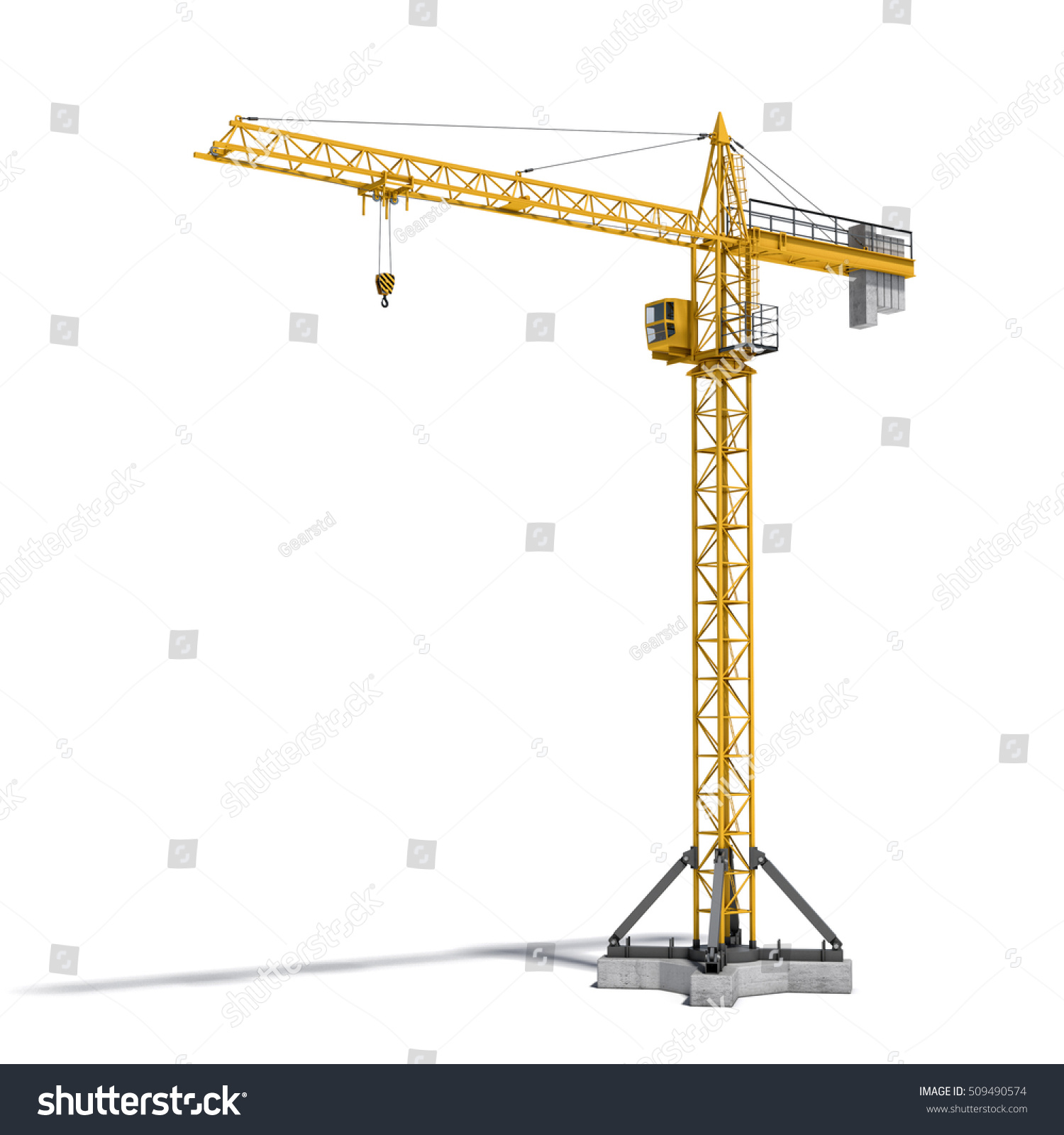 Tower Crane Design : D rendering yellow tower crane fullheight stock