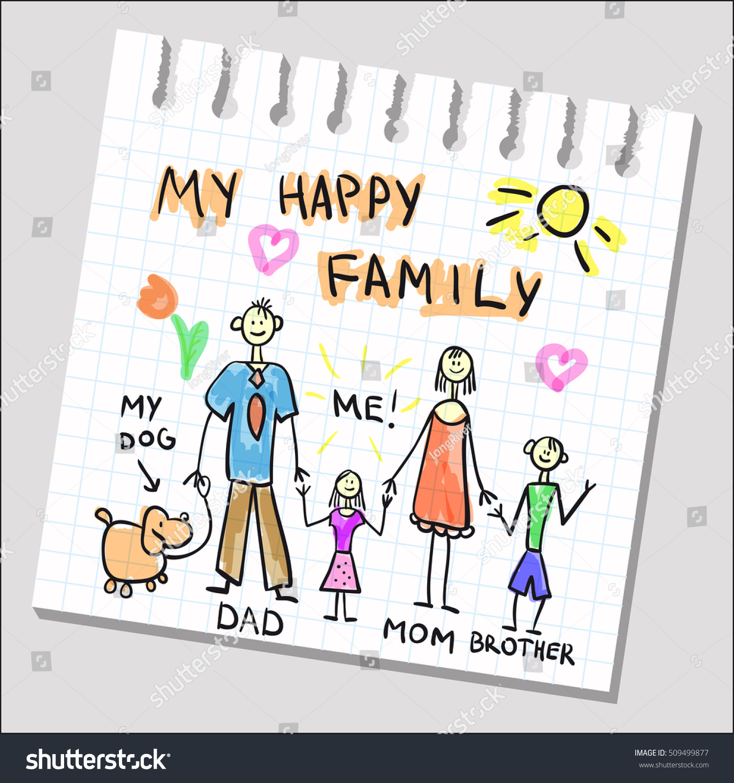 Happy Family Childish Drawing On Notepad Stock Vector Royalty Free 509499877