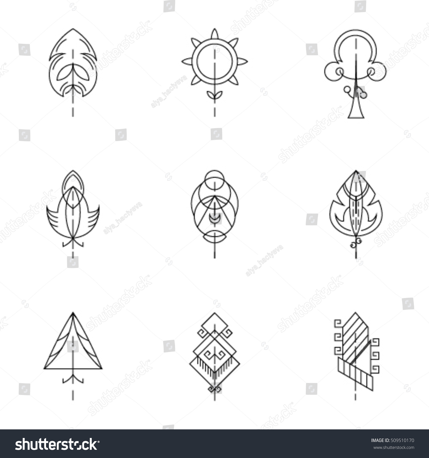Tree Icon Set Graphical Line Collection Stock Vector Royalty Free