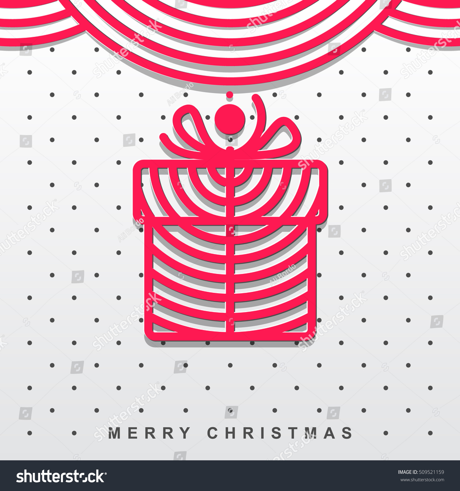 Modern christmas greeting card christmas gift stock vector royalty modern christmas greeting card with a christmas gift red icon on a white background m4hsunfo