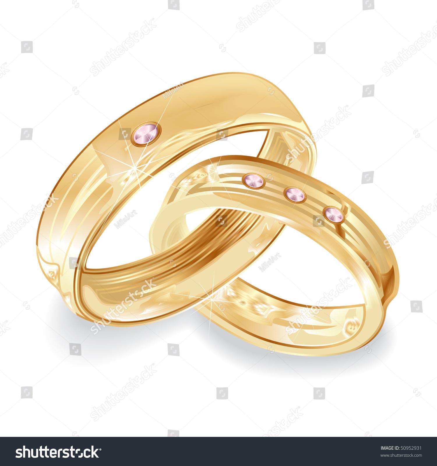 Female Male Gold Wedding Rings Illustration Stock Illustration