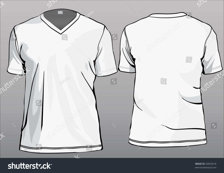 Tshirt Template Vneck Half Sleeves Stock Vector 50953618 ...