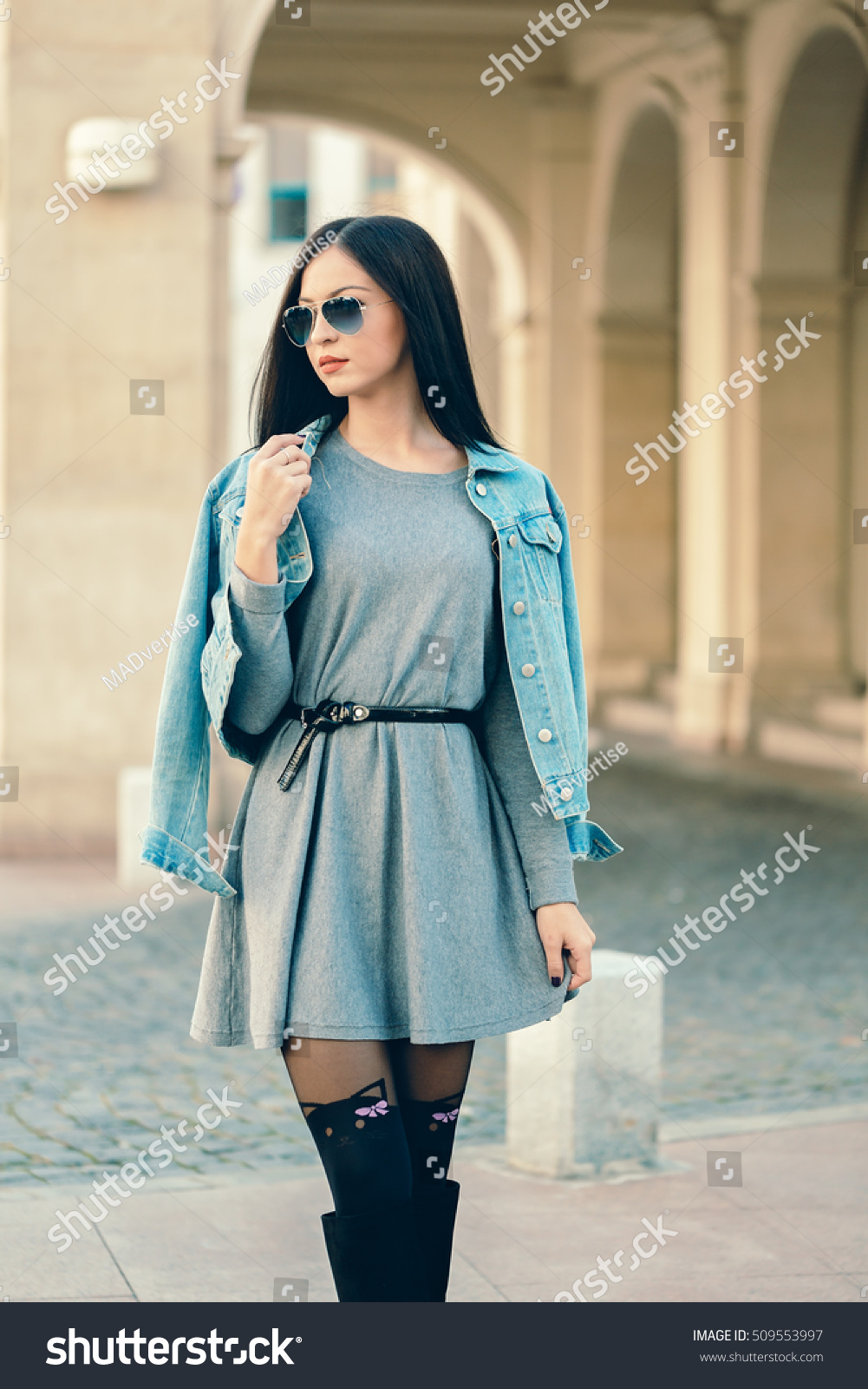 9fb711664480 Young Fashion Girl Style Denim Jacket Stock Photo (Edit Now ...