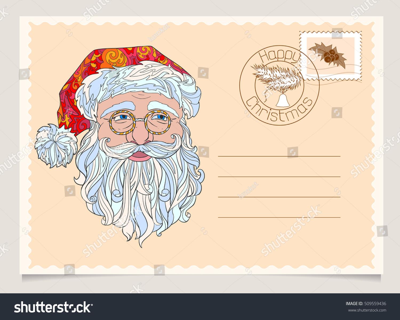 Santa Claus Face Vintage Christmas Happy Stock Vector 509559436