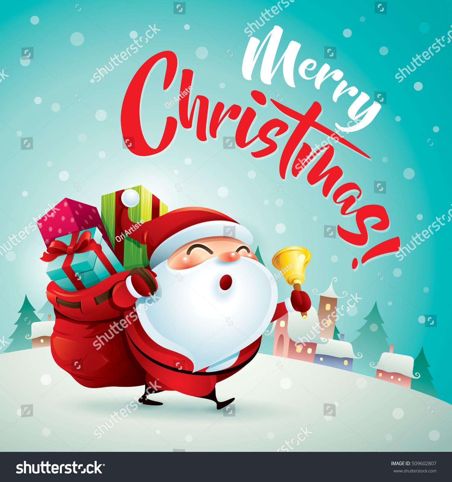merry christmas santa claus in christmas snow scene christmas greeting card - Santa Claus Christmas
