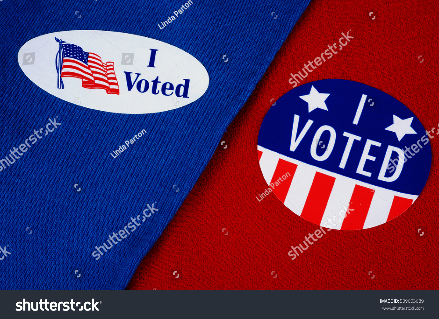 Political I Voted Stickers On Red Stock Photo (Royalty Free ...