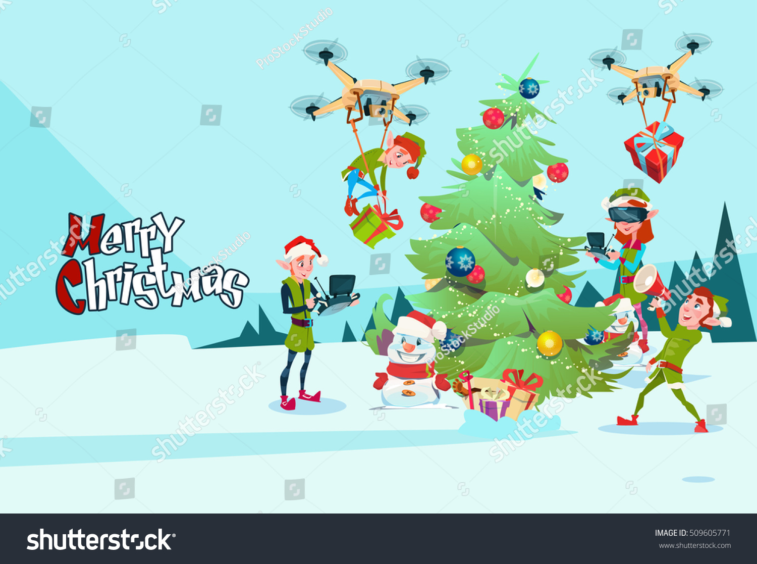 Green Elf Group Decoration Christmas Tree Stock Vector Royalty Free