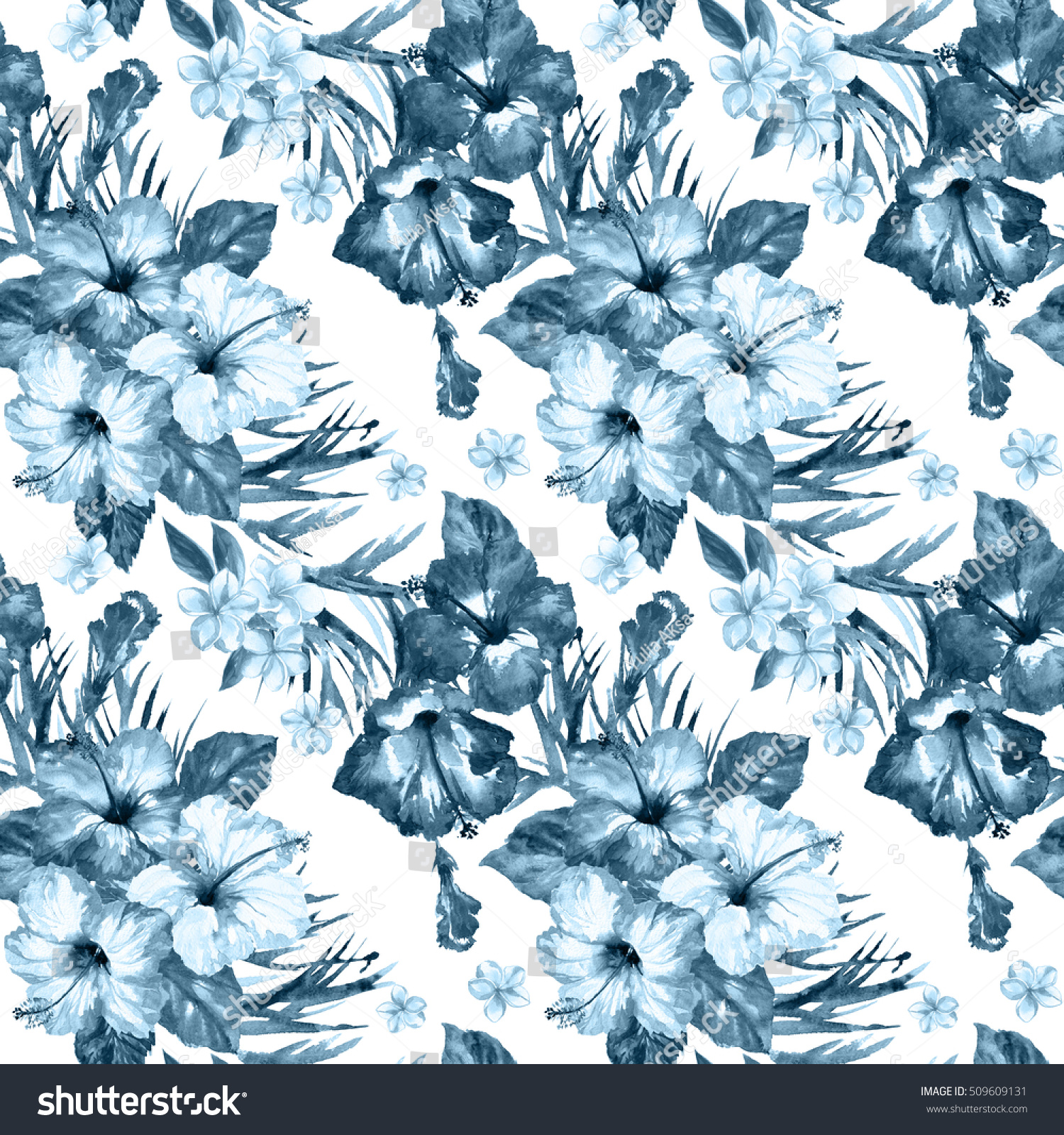 Tropical pattern watercolor abstract flowers plumeria hibiscus and leaves blue color background painted artwork blossom