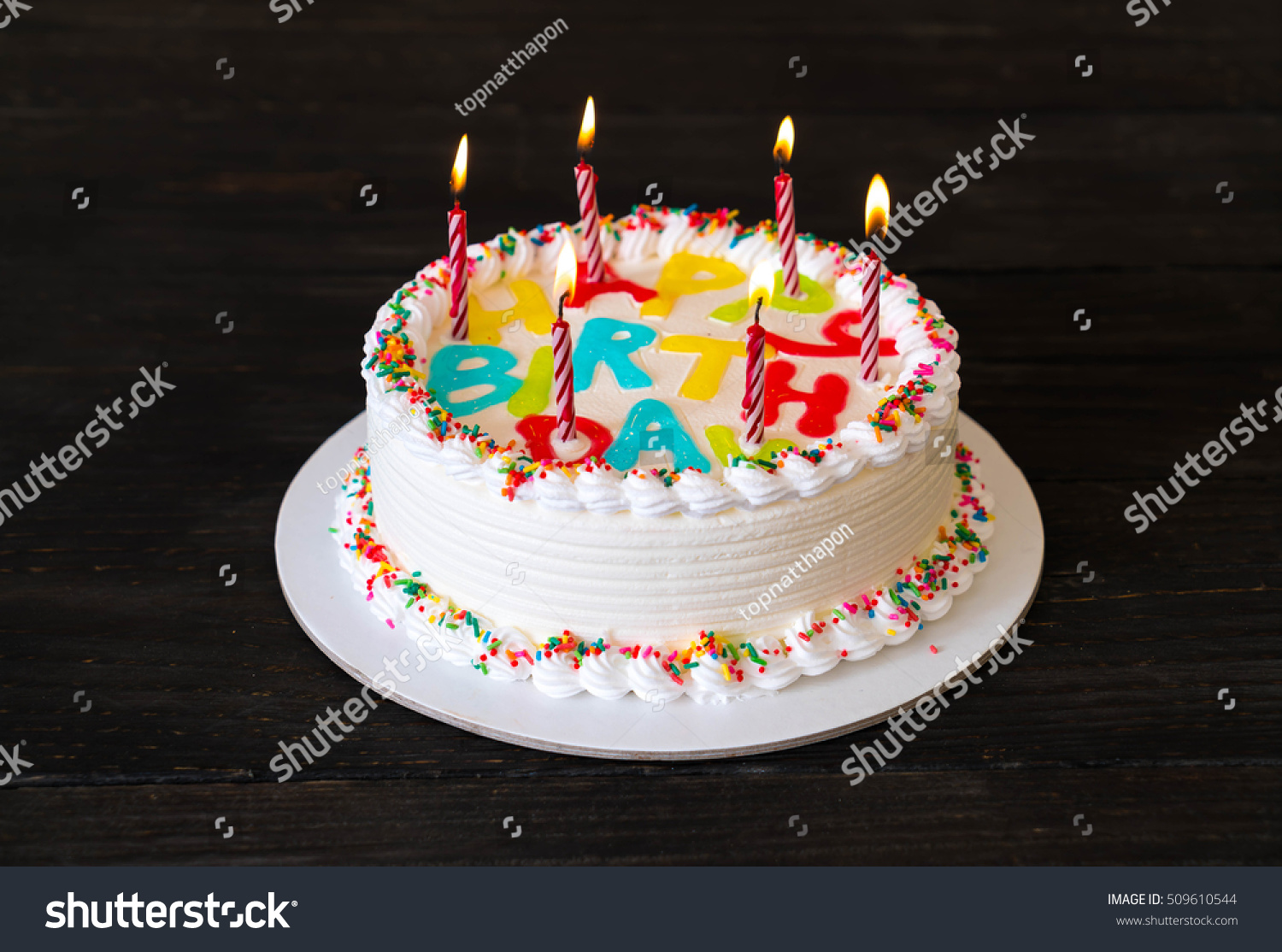 Happy Birthday Cake On Table Stock Photo Edit Now 509610544
