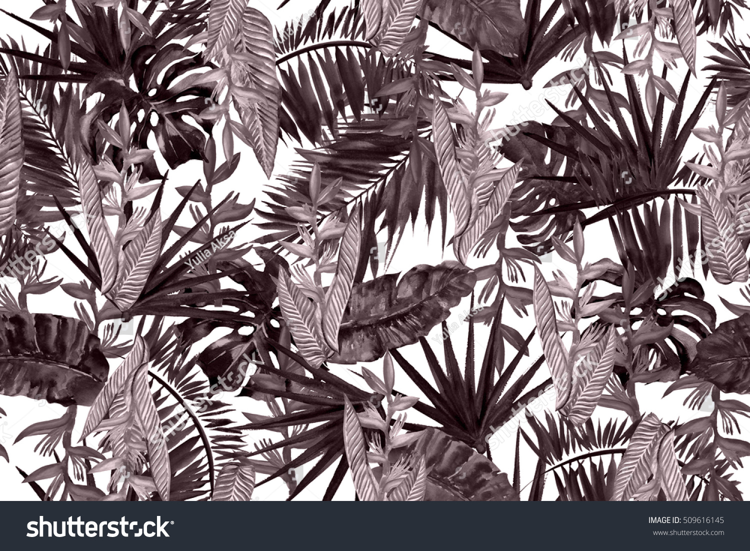 Floral pattern leaves background brown color watercolor painting tropical leaves illustration seamless pattern
