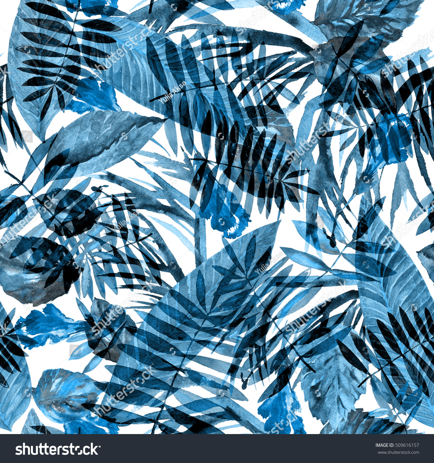 Leaves pattern watercolor background blue trendy color amazing floral camouflage drawing watercolor