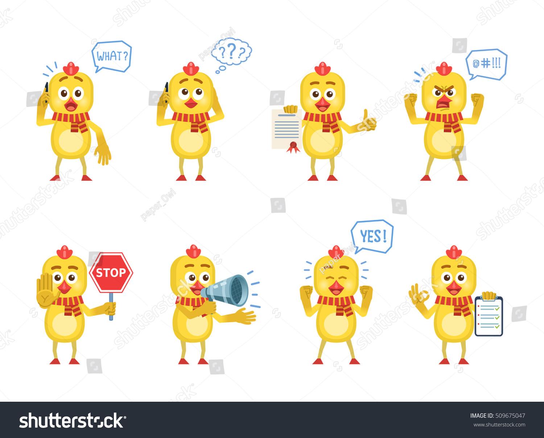 set cartoon chicken characters posing different stock vector