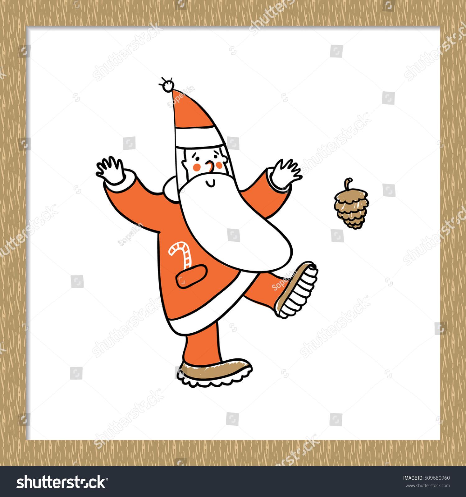 Beautiful festive decoration dancing santa claus stock vector beautiful festive decoration dancing santa claus kicking cone vector element for holiday decorating greeting kristyandbryce Gallery