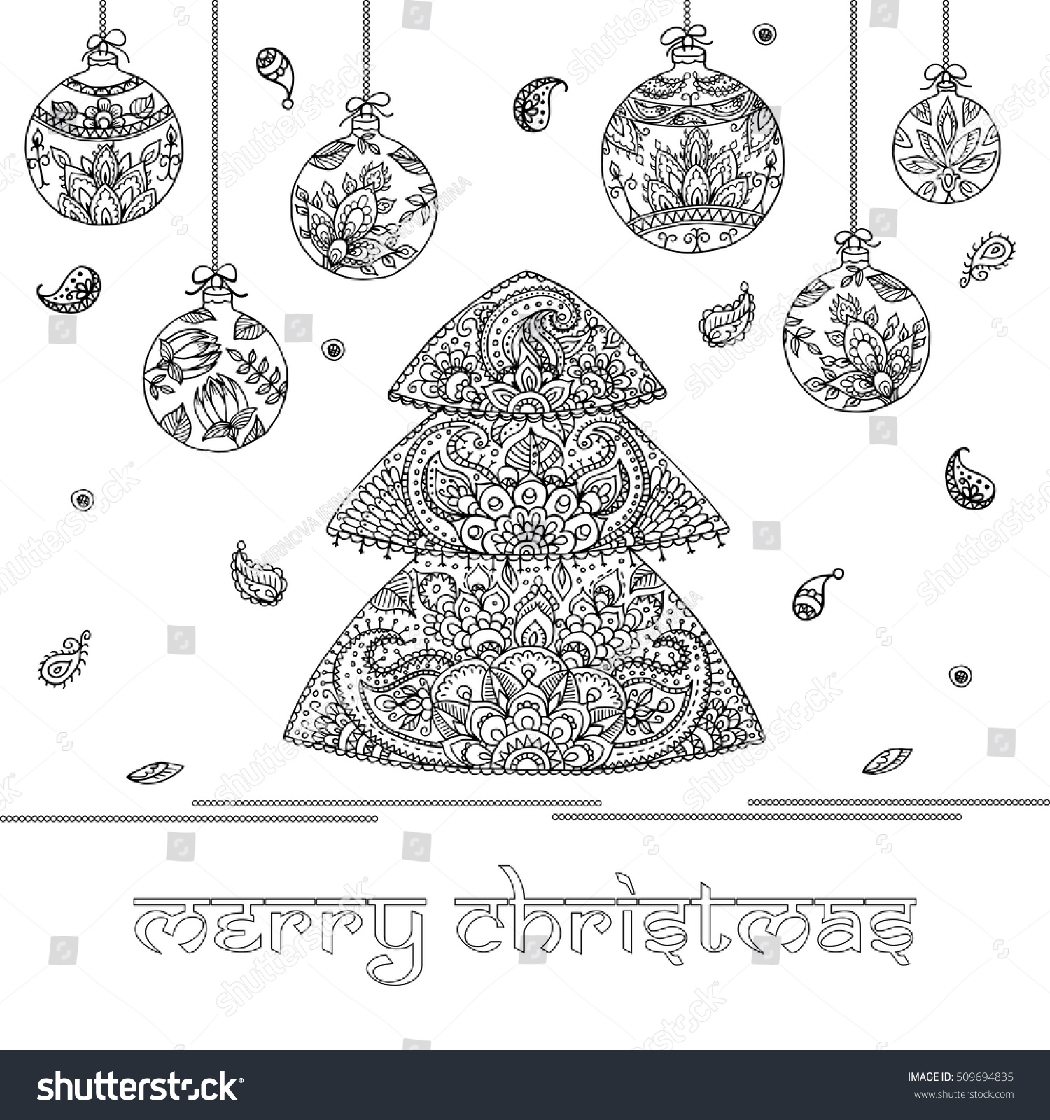 Christmas Tree Decorations Indian Floral Paisley Stock Vector ...
