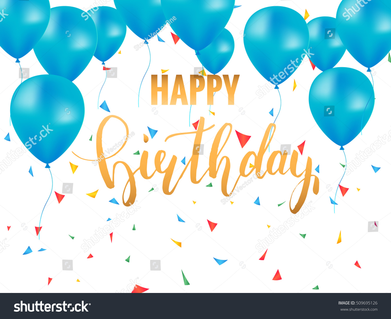 Happy Birthday Card Template. Golden Brush Lettering For Birthday Card