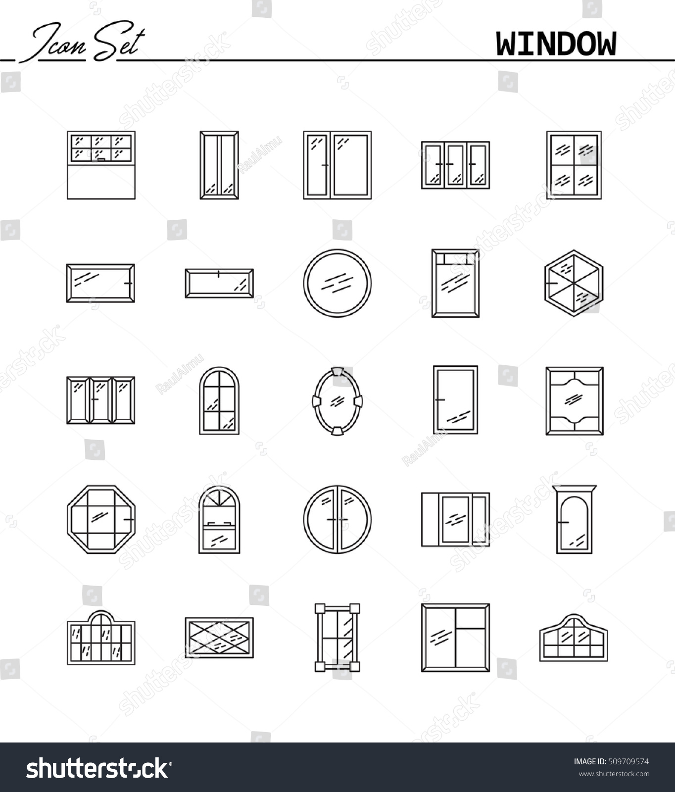 Window line icon set collection high stock vector 509709574 collection of high quality pictograms of window for homes interior buycottarizona Image collections